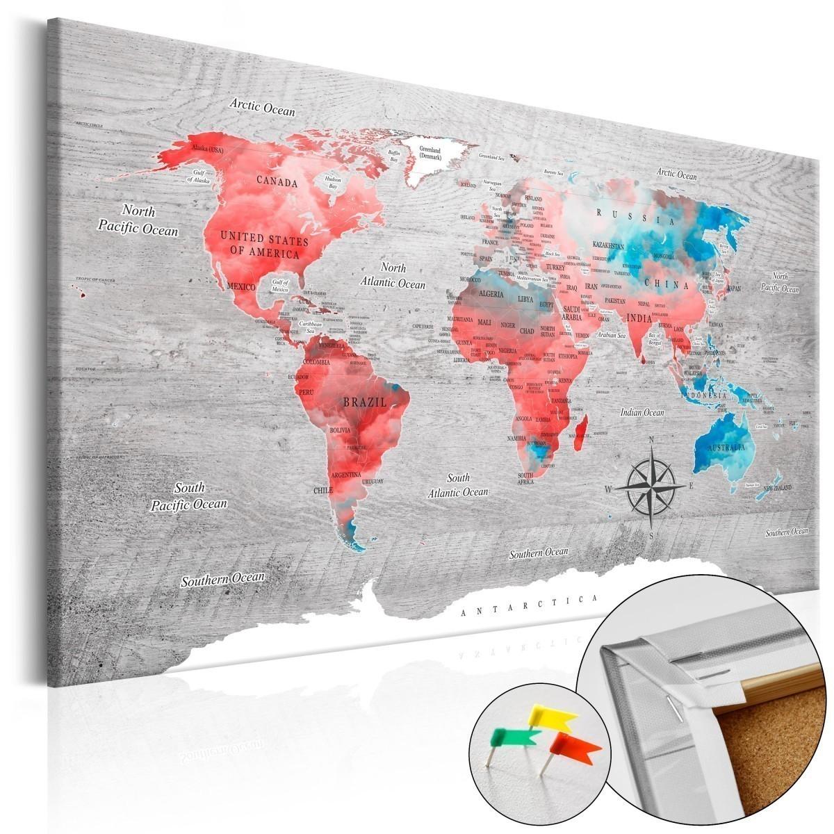 95149a410fbd09 Obraz na korku - Czerwona wędrówka [Mapa korkowa]