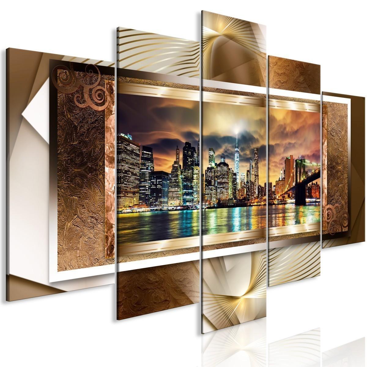 Obraz Potęga Manhattanu 5 Częściowy Szeroki Złoty